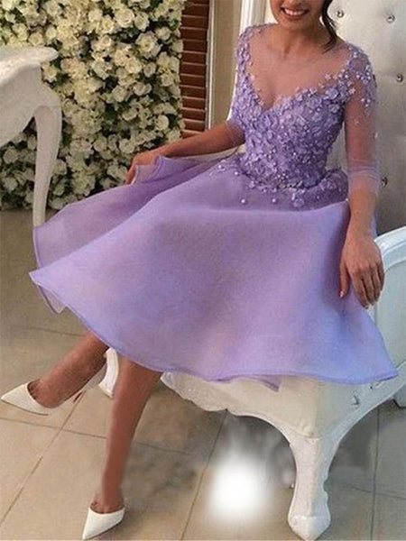 A-Line V-neck 3/4 Sleeves Knee-Length With Applique Organza prom Dresses  cg6076