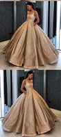 Ball Gown Sequins Gold Quinceanera Dress Sweet 16 Dresses With Pocket ,modest prom dress  cg608