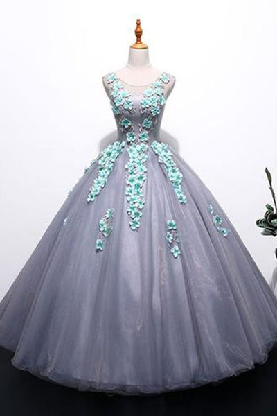 Unique gray tulle long winter formal prom dress with appliqués, long plus size prom gown  cg6081
