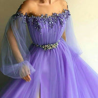 A line round neck purple prom dress with slit  cg6098