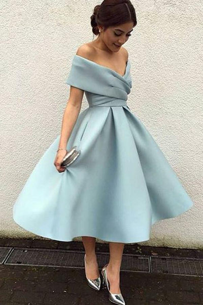 A-Line Blue Homecoming Dress,Sexy Off Shoulder Evening Dress , Formal Dress cg60