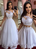 White a line prom Dresses With Lace  cg6106