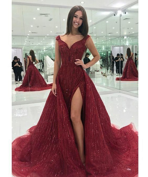A line burgundy prom dress with side slit  cg6108