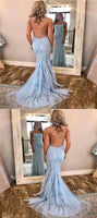 Sexy Mermaid Lace Blue Backless Long Prom Dresses cg611