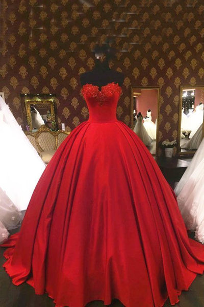 Sweetheart wine red satin high waist strapless ball gown, formal lace appliqués prom dress  cg6113