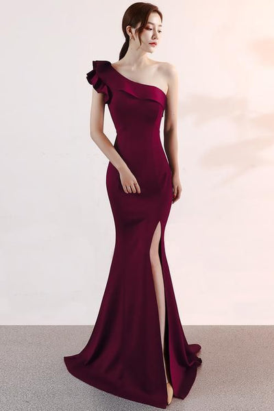 Beautiful Wine Red One Shoulder Slit Mermaid Party Dress, Elegant Prom Dress  cg6121
