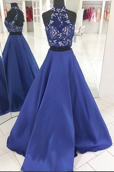 Blue two pieces lace long prom dress, blue evening dress  cg6124