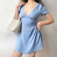 Wild V-neck short-sleeved homecoming dress  cg6125