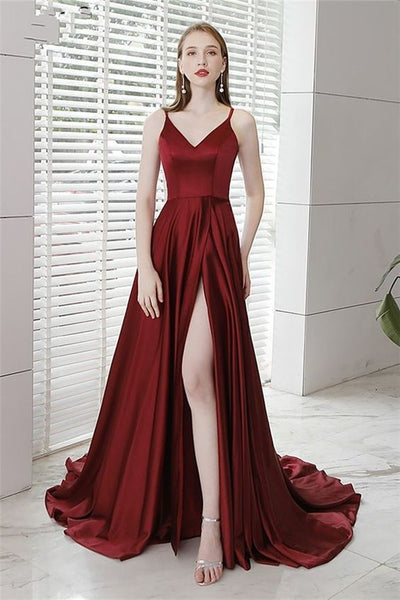 Spaghetti Straps Floor-Length Split-Front Evening Dress 2019 ,burgundy prom dress cg613