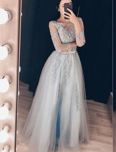 Gray tulle lace long prom dress, long sleeve evening dress   cg6157