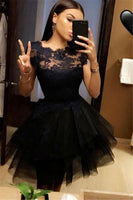 A-Line Jewel Cap Sleeves Appliques Black Homecoming Dress  cg615