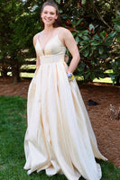 2020 yellow long prom dress with pockets  cg6187