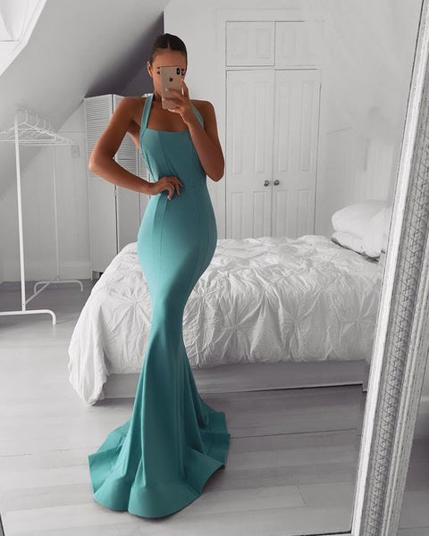 Teal Satin Halter Long Prom Dress, Simple Evening dress cg6191