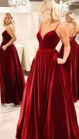 elegant dark red long prom dresses, formal velvet evening party dresses, simple prom gowns with pockets  cg6198