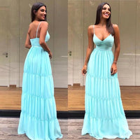 Green V Neck a line Prom Dresses with spaghetti strap  cg6210