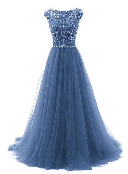 Beautiful Blue Round Neckline Beaded A-Line Party Dresses, Long Formal prom Gowns  cg6218