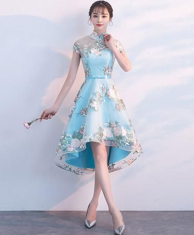 Unique Blue Tulle Embroidery Short Prom Dress, Blue Evening Dress  cg6224