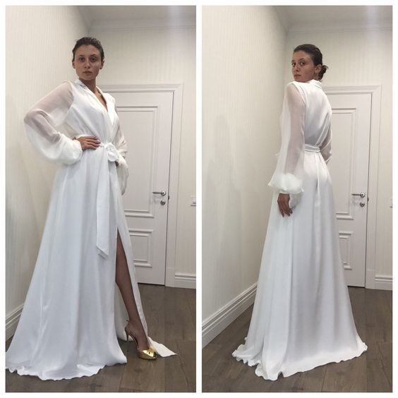 Long Sleeves White Prom Dress , Sexy Prom Dress  cg6228