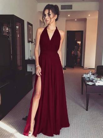 Burgundy Prom Dress, Sleeveless Evening Dress, Sexy Evening Dress, Evening Dress Backless, A-Line Prom Dress cg622
