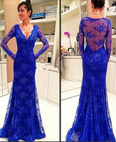 Mermaid Sexy Deep V-neckline Lace Prom Dress cg6234