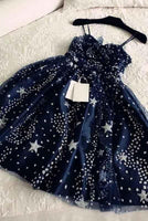 Spaghetti Straps Navy Blue Tulle Sweetheart Homecoming Dresses, Short homecoming Dresses cg623