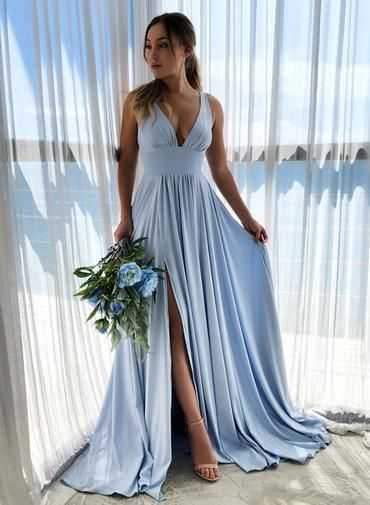 Light Blue Satin V Neck Long Bridesmaid prom Dress, Slit Wedding Guest Dress   cg6261