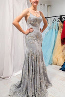 Mermaid Spaghetti Straps Backless Grey Prom Dress with Appliques  cg6263