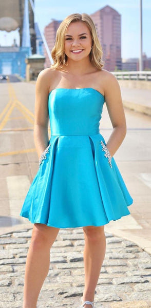 A Line Strapless Light Blue Short Homecoming Dress With Pockets Beading  cg6265