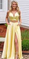 two pieces long prom dresses, simple prom dresses for teens, cheap prom dresses  cg6269