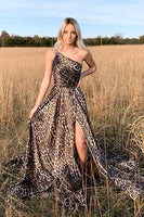 One Shoulder Leopard Long Prom Dress with Slit  cg6275