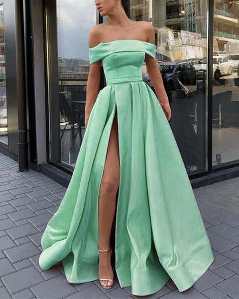 Amazing Mint Green A Line Evening Prom Dresses Long Satin Off Shoulder Sexy High Split  cg6281
