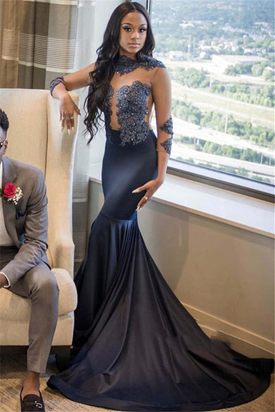 2020 Navy Blue High Neck Long Sleeve Applique Beaded See Through Satin Mermaid/Trumpet Prom Dresses  cg6296