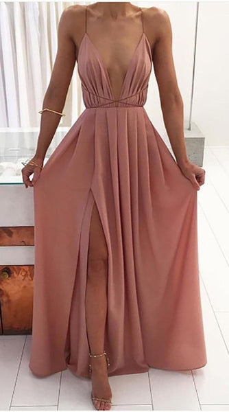 Long Backless Strappy Chiffon Slit prom dresses gown dress  cg6304