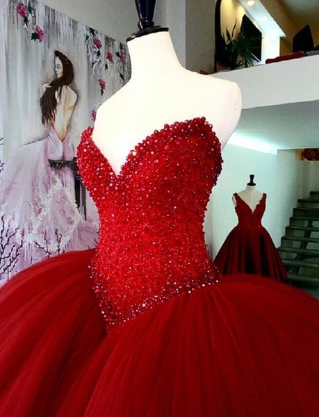 Red wedding dresses ball gowns prom dress for bride  cg6327