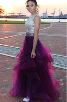Two Pieces Sequined Ball Gown Open Back Evening Prom Dresses Grape Beading Quinceanera Dress Long  cg6328
