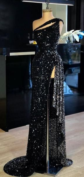 Mermaid Sparkly Sequin Black High Slit Sexy Elegant Modest Long Prom Dresses, evening dresses  cg6342
