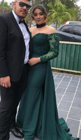 Off-shoulder Long Sleeves Green Lace Prom Dresses  cg6353