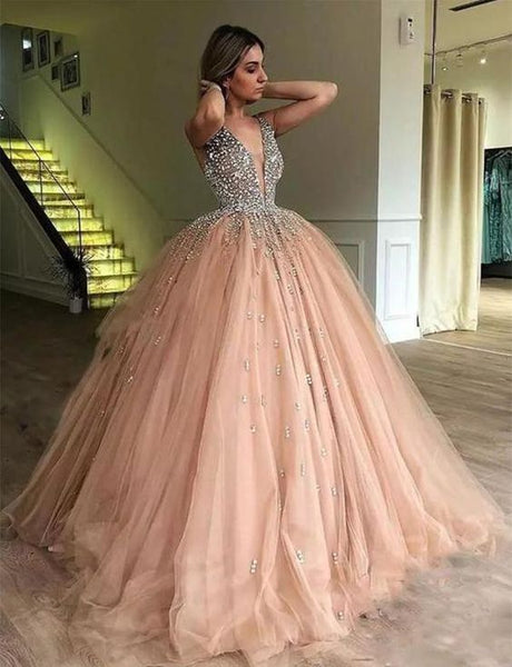 Ball Gown Deep V-Neck Low Cut Champagne Quinceanera Dress with Beading , sparkly prom dress  cg635