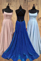 Elegant Straps Long Prom Dress with Criss Cross Back  cg6372