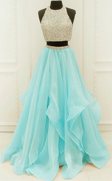 Chic Organza Ruffles Two Piece Prom Dresses With Sequins And Beads  cg6374