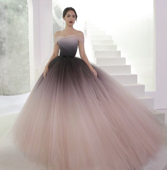 Off-the-shoulder ombre prom dresses unique prom dress long evening dresses cg637