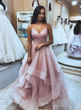 Princess Pink Tulle Long Prom Dress cg638