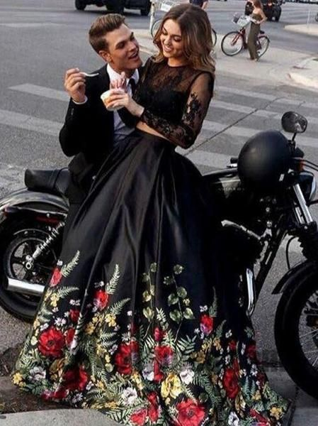 Two Piece Black Prom Dresses, Long Sleeve Prom Dresses, Open-back Prom Dresses, Appliques lace Prom Dresses  cg639