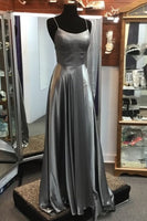 grey long prom dress with straps, gorgeous long prom dress 2020  cg6399