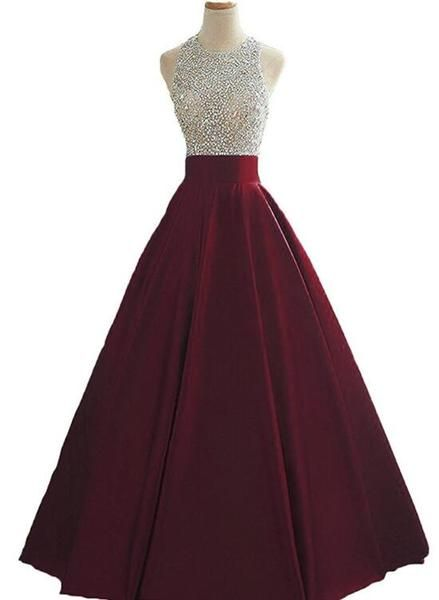 Wine Red Sequins And Beaded Backless Satin Formal Gown, Handmade Party prom Dress  cg6403