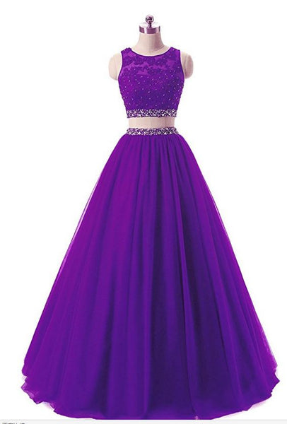Charming Prom Dress,Two Piece Tulle Prom Gown,Purple Evening Dress  cg6408