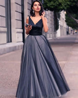 Modest Black Prom Dress,V Neck Tulle Prom Dress,Custom Made Evening Dress cg640