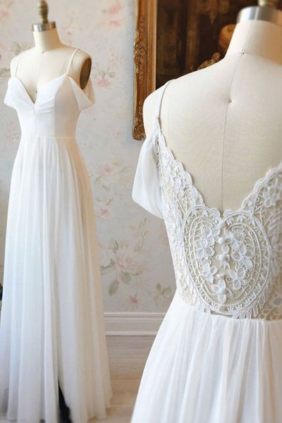 Simple white off shoulder chiffon lace long prom dress evening dress  cg6417