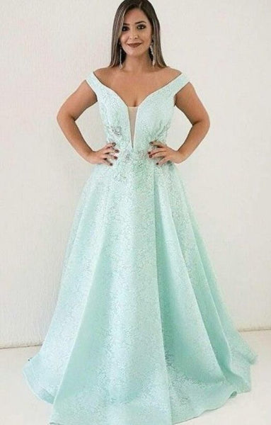 Pretty Unique Off Shoulder Mint Green Lace A Line Prom Dress  cg6436