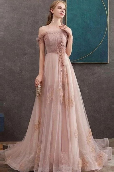 A-line Off-the-shoulder Pearl Pink Long Prom Dresses Evening Dress   cg6452